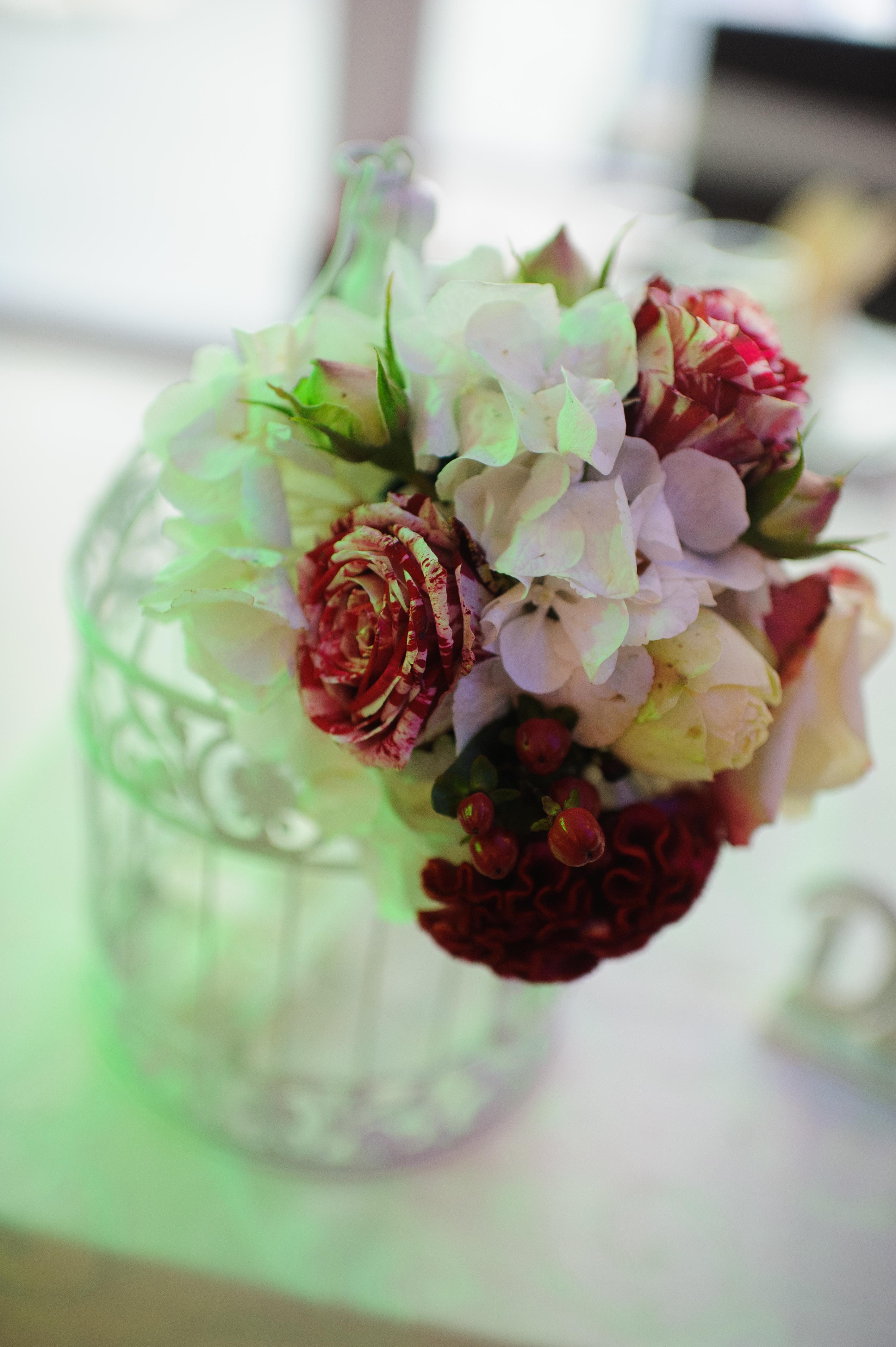 decor cu flori botez